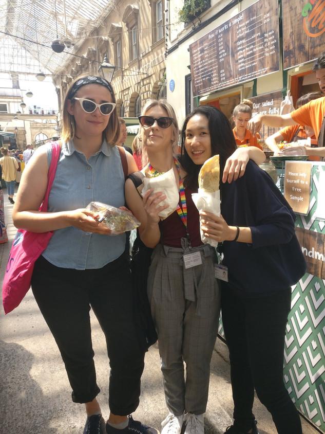 Freya, Ionna and Lynn in St Nicholas' Market, Bristol, June 2018