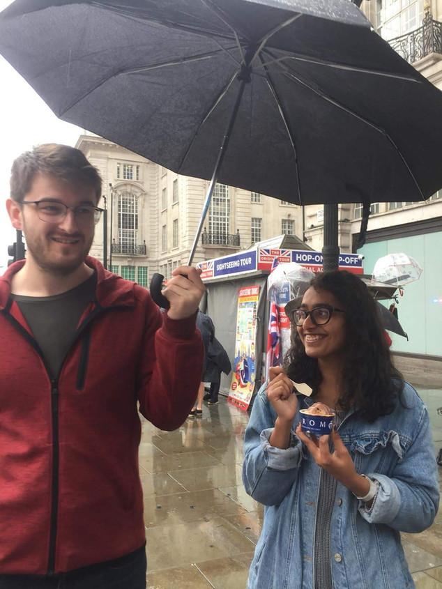 Matthew and Divya having ice cream