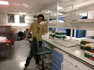 Diego unpacking the lab after the move