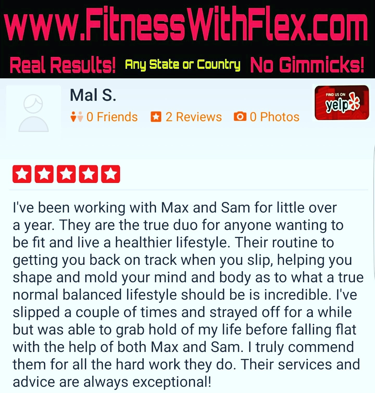 FitnessWithFlex 5 Star Testimonials