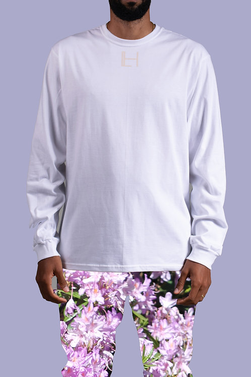 WHITE HALLEY LOGO T-SHIRT - LONG SLEEVE