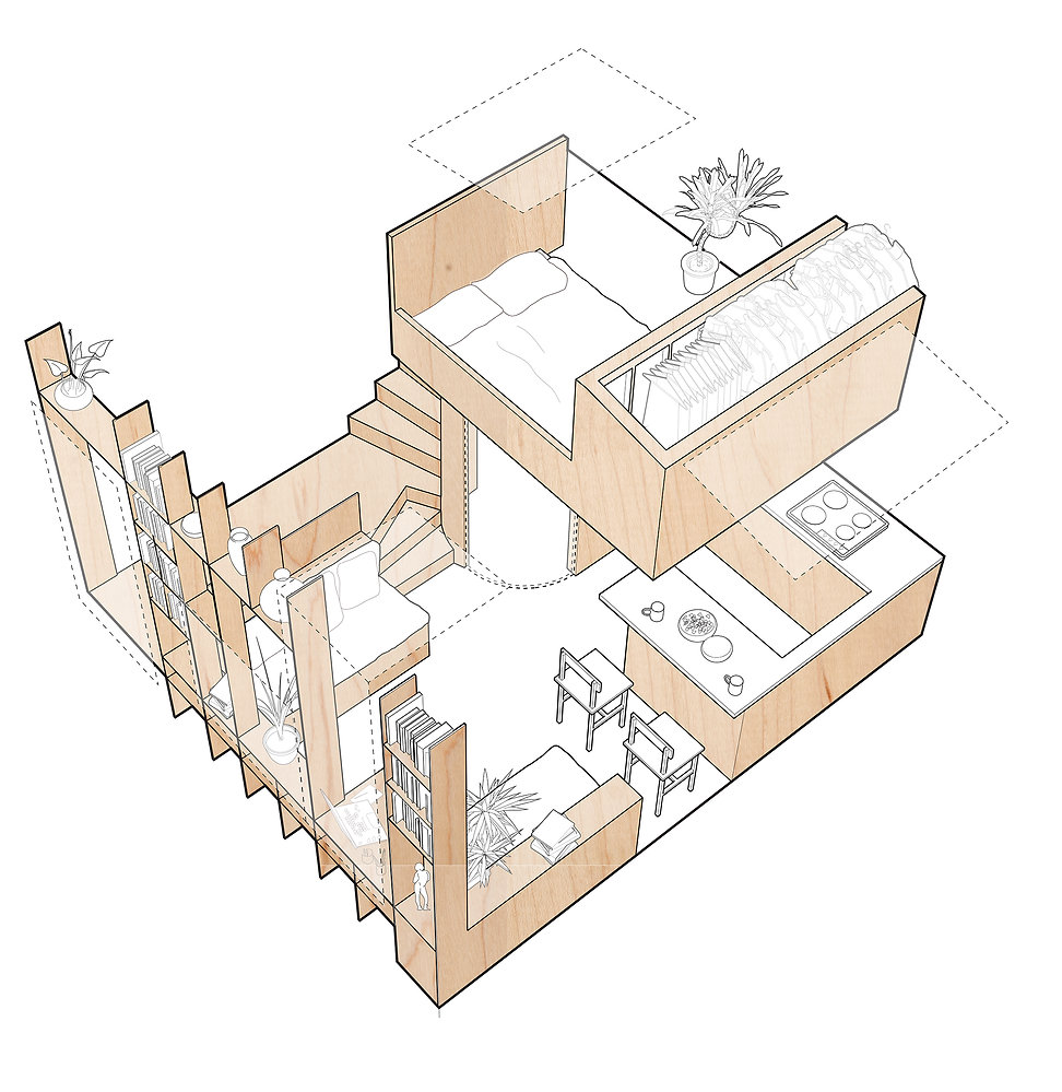 A small new build house in Hackney with dimensions  of 5 x 5 x 5 metres. Micro-house. Self Build. Lucas Facer