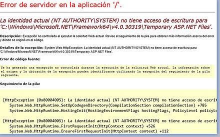 error de servidor en la aplicacion
