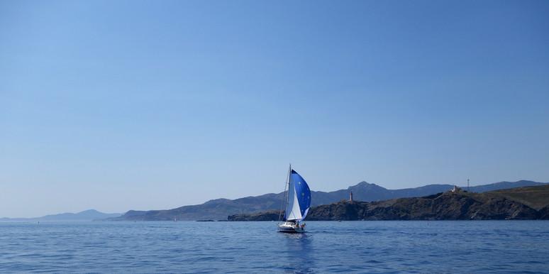 Une croisière journée avec le catamaran lodos de saint cyprien un privilège de chaque instant ici devant Port-Vendres et le cap Béar.