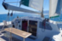 Collioure dans le cap du Catamaran Lod