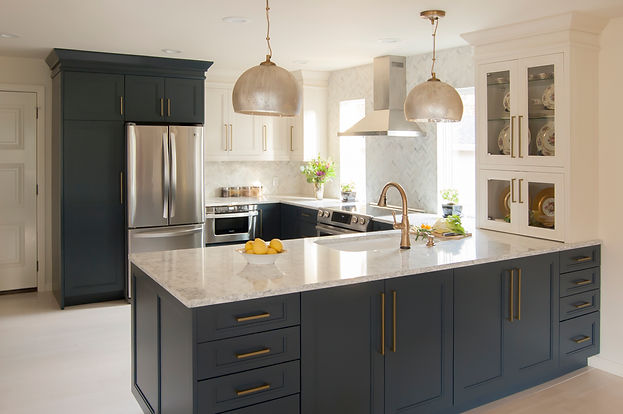 Wood-mode, Microwave drawer, Navy cabinets, Viatera Rococo, Herringbone backsplash, Delta Cassidy Champagne Bronze, Kohler Bakersfield, Gold leaf
