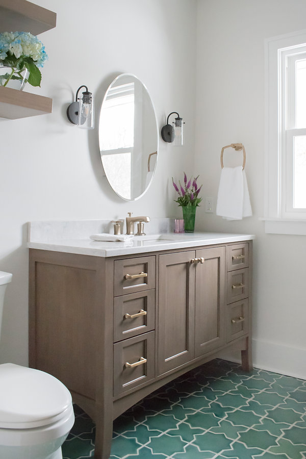 Shiloh Cabinetry, Fireclay tile, Kohler Margaux,  Green tile, Viatera Aura quartz, Star and cross, Zurich white, Gold hardware
