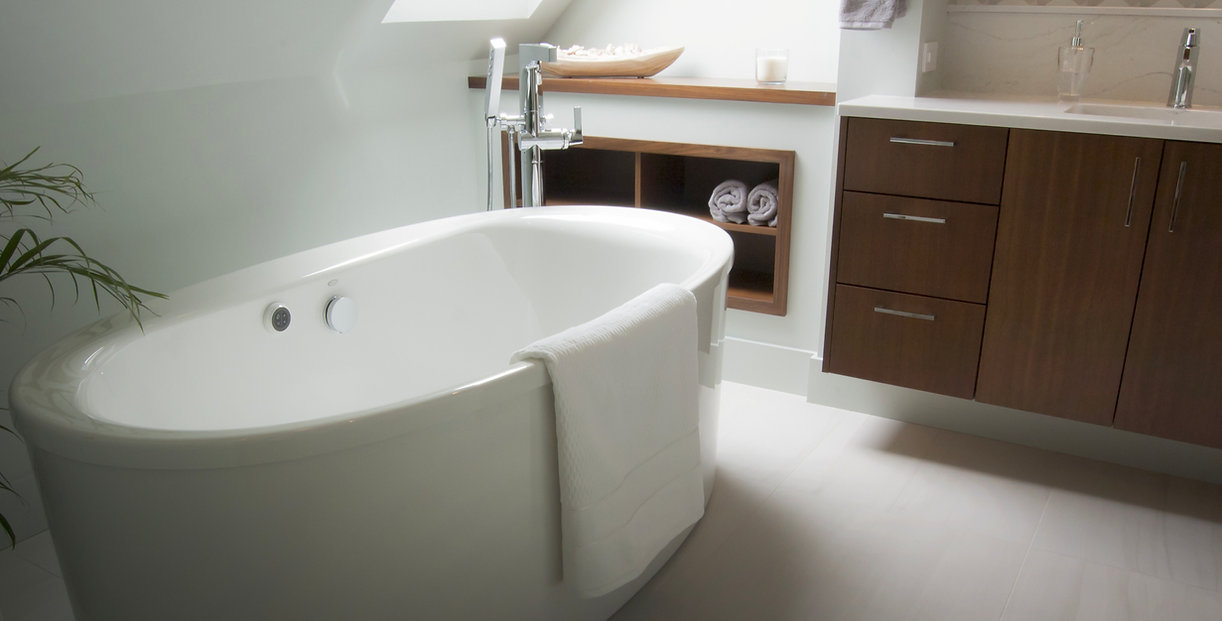 Natural Light-Filled Bathroom with Soaking Tub