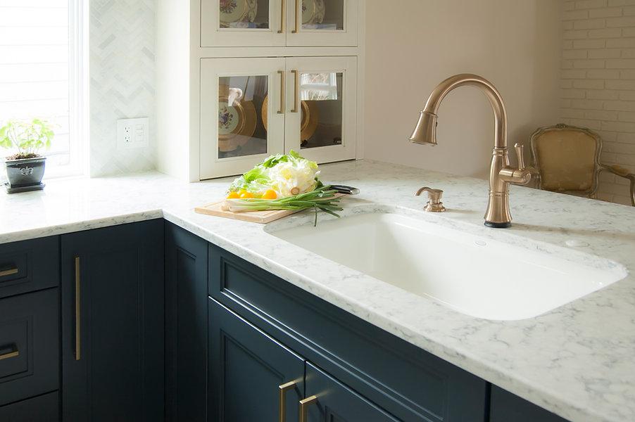 Navy & White Kitchen Champagne Bronze Accents