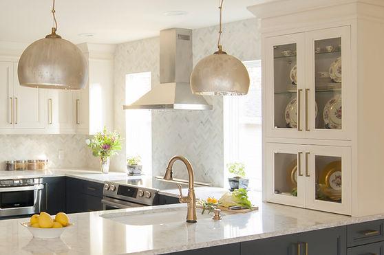 Navy & White Kitchen with Herringbone Backsplash