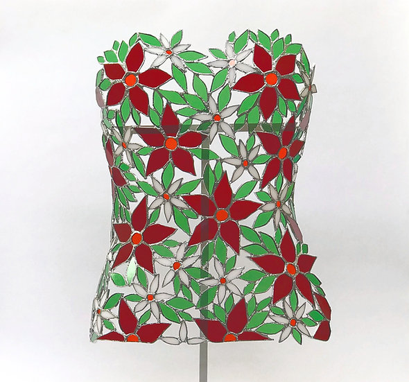 Byst skulptur i Tiffany stil med blommor i rött och vitt med gröna blad