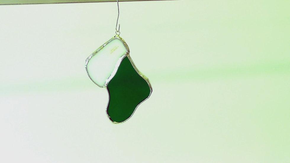Julstrumpa i Tiffanystil i vit/grönt el vit/röd