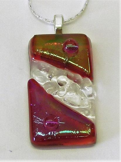 Hänge i röd design med silverhållare