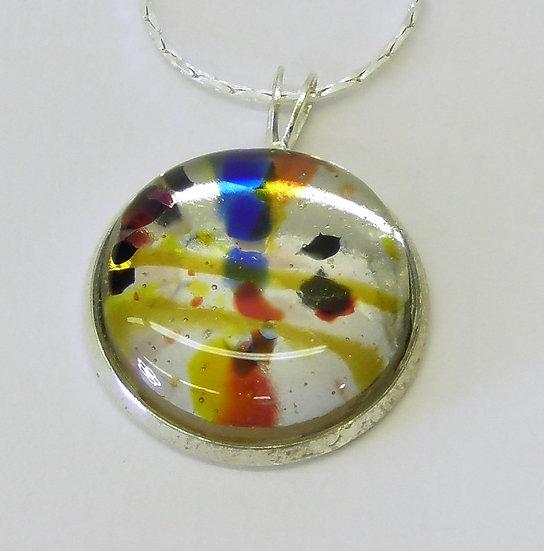 """Hänge silverfärgat med flerfärgad """"sten"""" #2"""