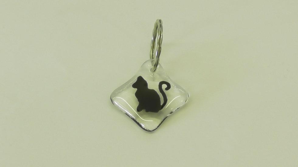 Nyckelring fyrkantig med sittande katt
