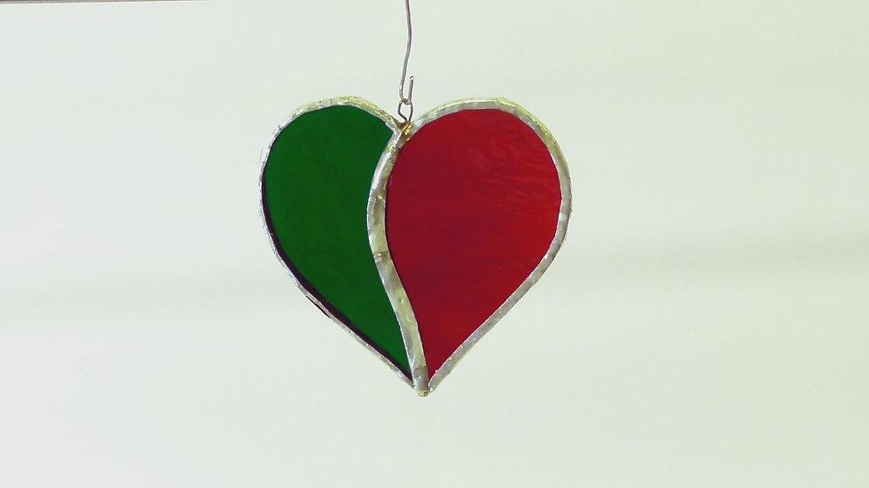 Julhjärtan i Tiffanystil i rött/grönt el rött/vitt