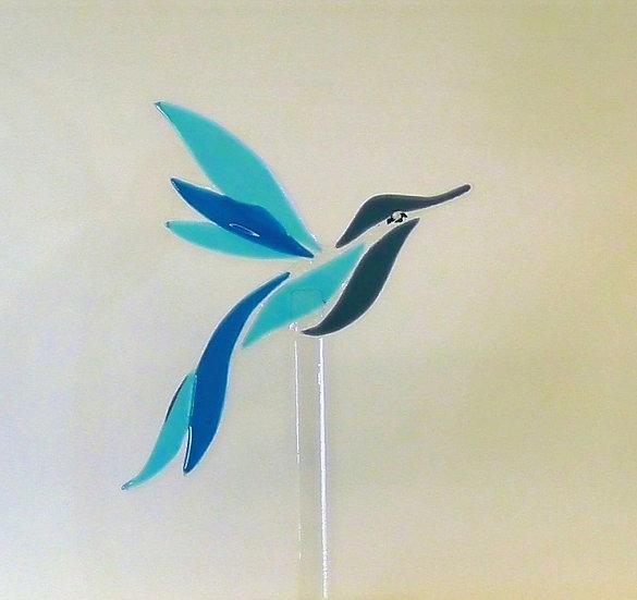 Glasfågel i blått