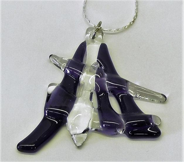Hänge i lila glasdesign med silverhållare