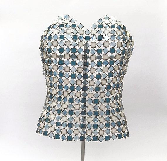 Byst skulptur i Tiffany stil i blå och vit nyans