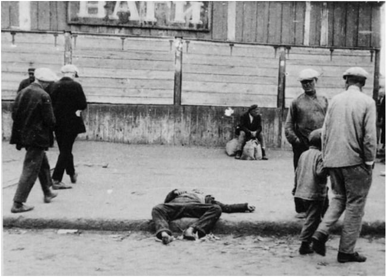 The corpse of a man in Kharkiv, Ukraine, taken in 1932.