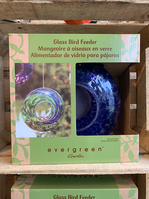 Swirl Glass Bird Feeder -Blue