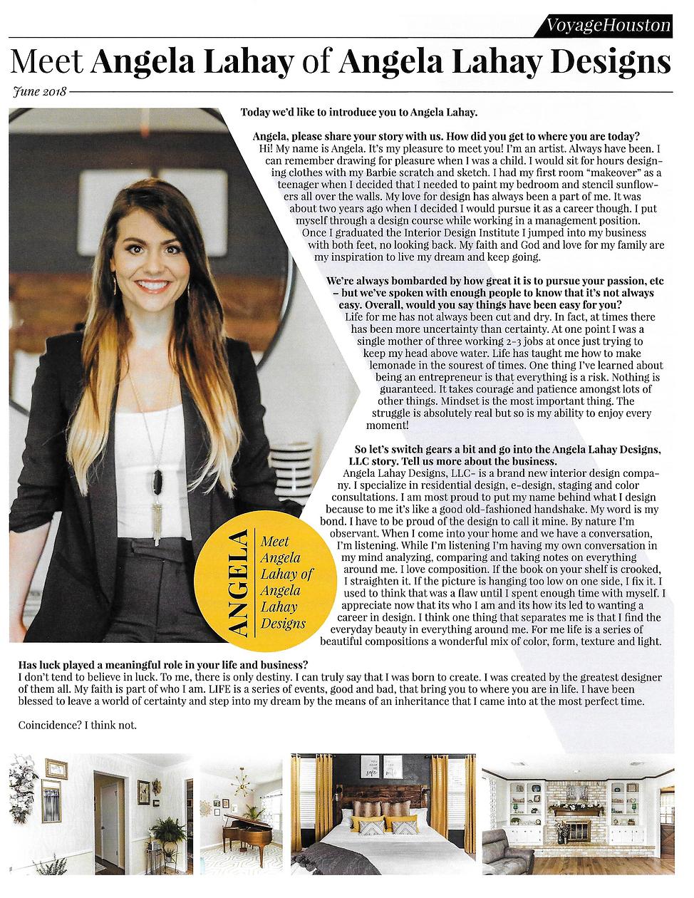 Interior Decorator, Angela Lahay, Houston, Texas Interview