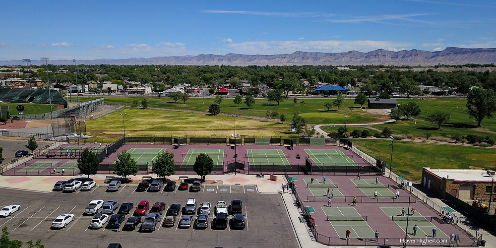 Aerial view drone of Grand Junction, Colorado Lincoln Park Pickleball Courts Empty Tennis