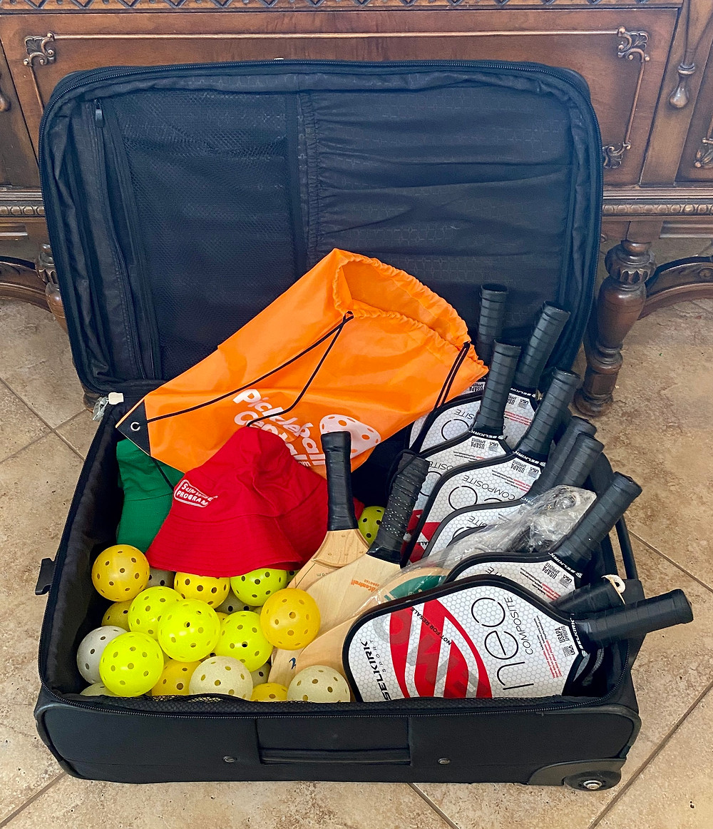 Pickleball paddles balls bags donation Coffeys2Go Medellin Colombia South America