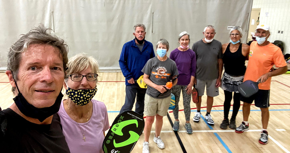 Pickleball players in Durango, CO wearing masks
