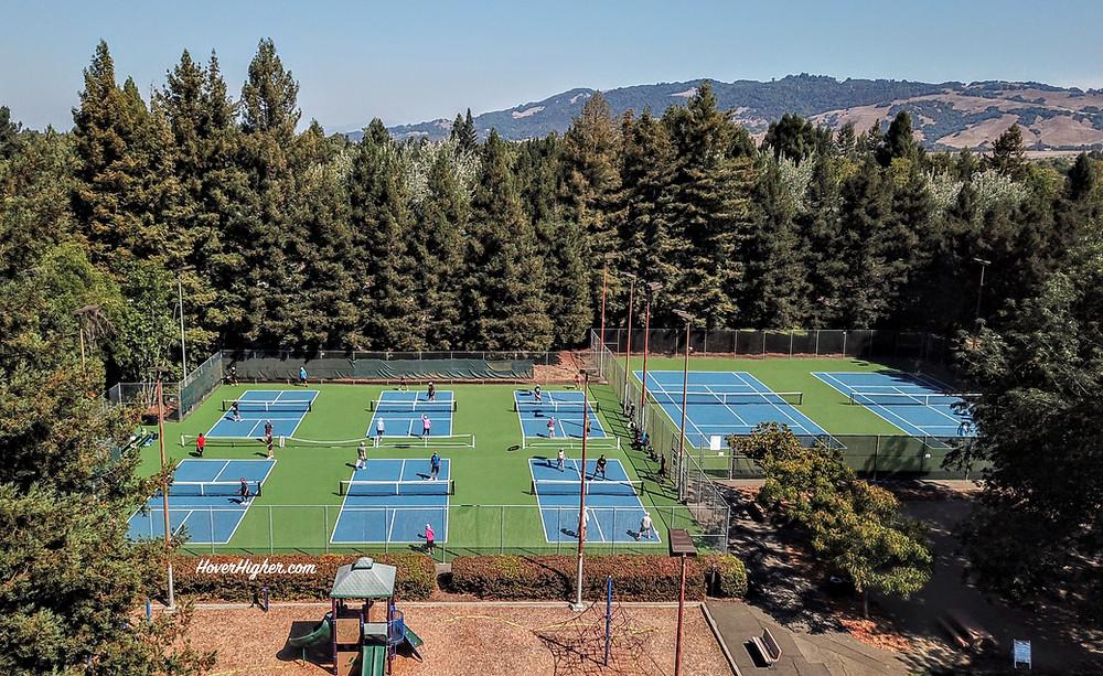 Pickleball Drone Photo Shot Rohnert Park CA  Sunrise Park Coffeys2Go.com HoverHigher Blog Travel.com