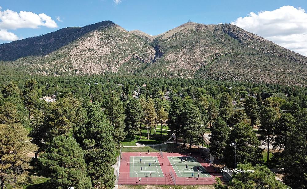 Drone Photo Shot Pickleball Court Bushmaster Park Flagstaff, AZ HoverHigher.com Coffeys2Go.com Blog