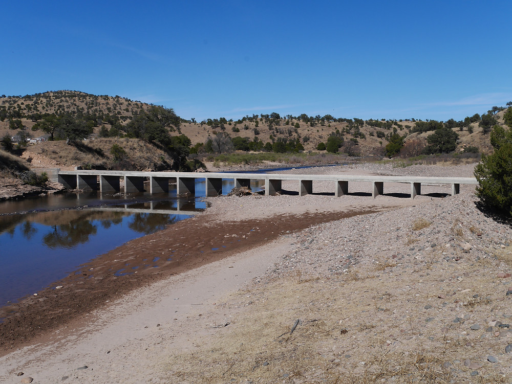 Modern bridge across the river in Chihuahua, Mexico