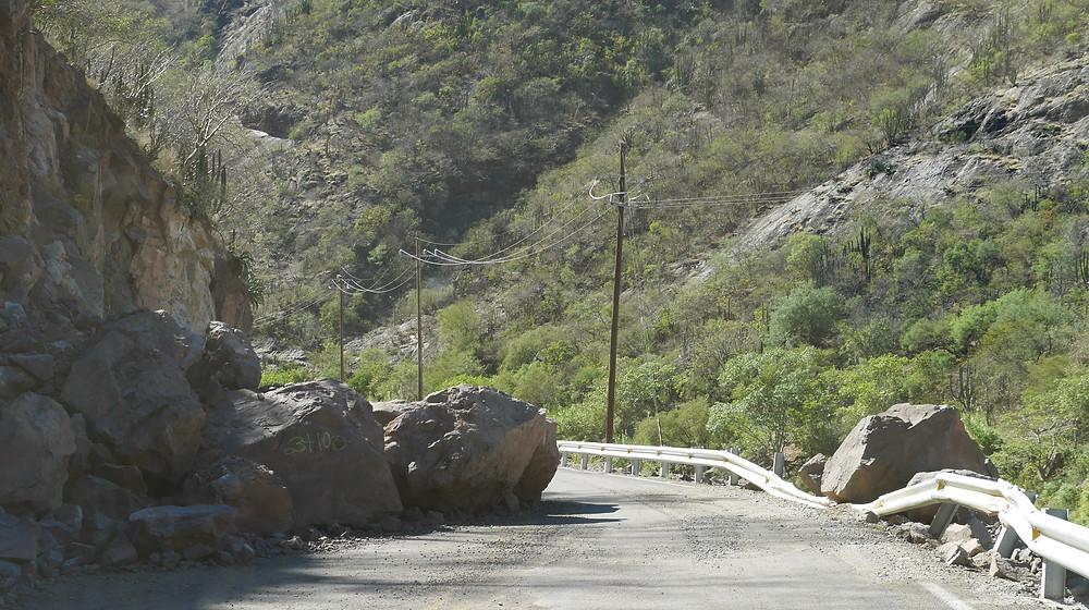 Mountain roads to Batopilas, Chihuahua, Mexico  debris blocking the path