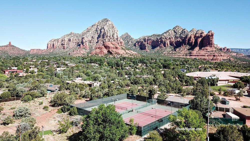 Drone Photo Shot Pickleball Courts Posse Park Sedona, AZ HoverHigher.com Coffeys2Go.com Blog
