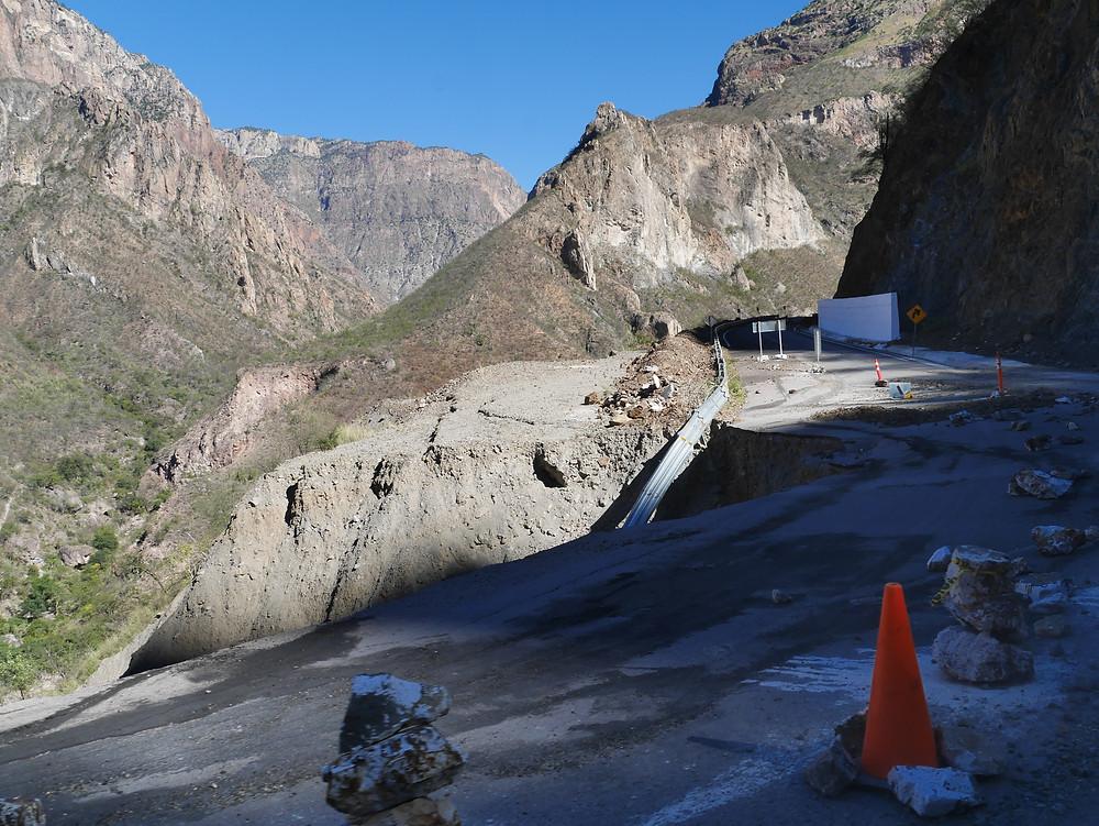 Mountain roads to Batopilas, Chihuahua, Mexico road collapse
