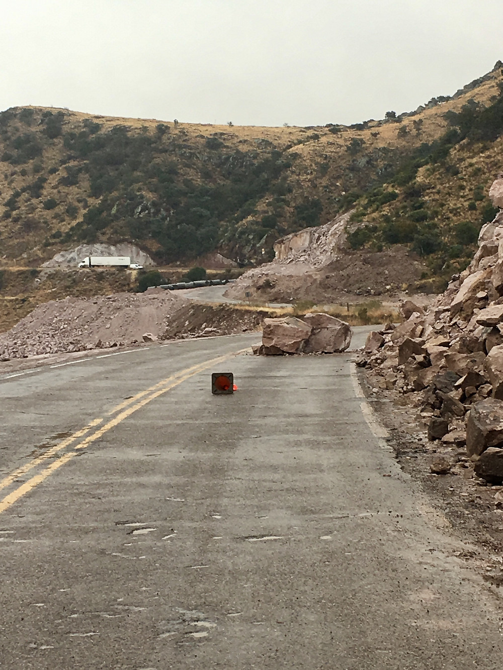 blocked road in Chihuahua, Mexico