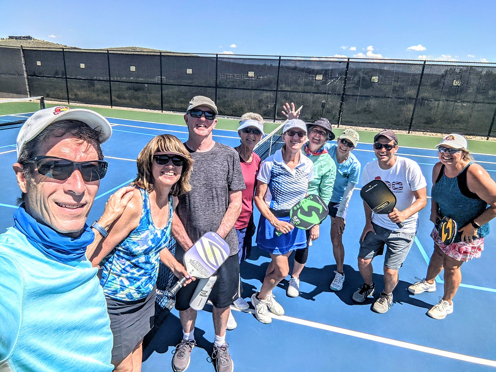 Pickleball players in a clinic in Park City, Utah taught by Daniel Moore, pickleball professional