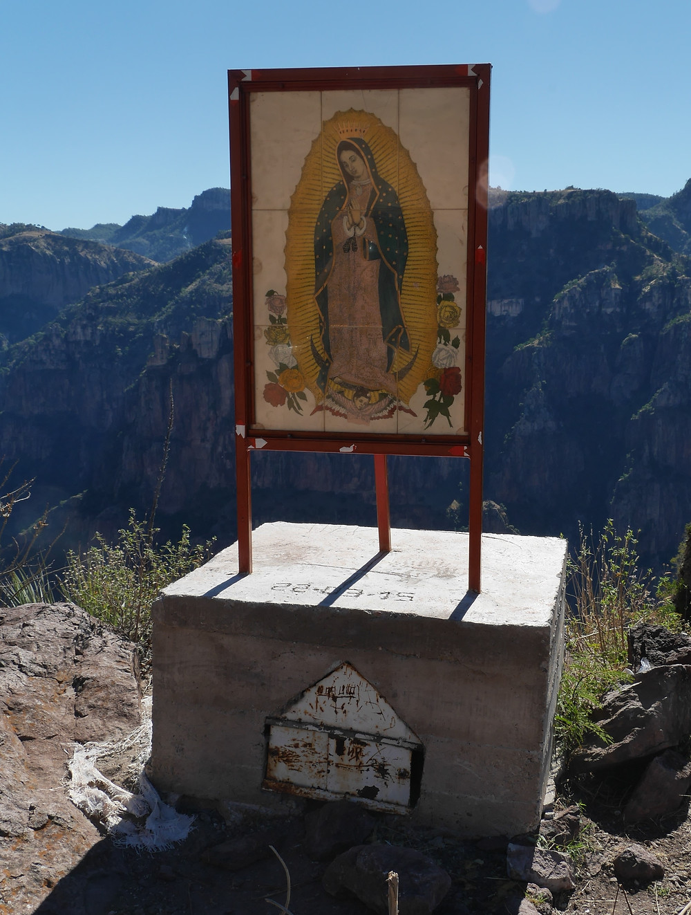 Mountain roads to Batopilas, Chihuahua, Mexico shrine