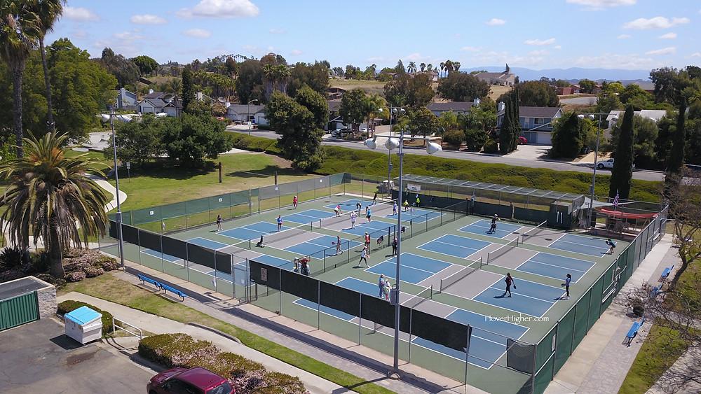 Melba Bishop Park in Oceanside, CA Full courts of women playing pickleballn