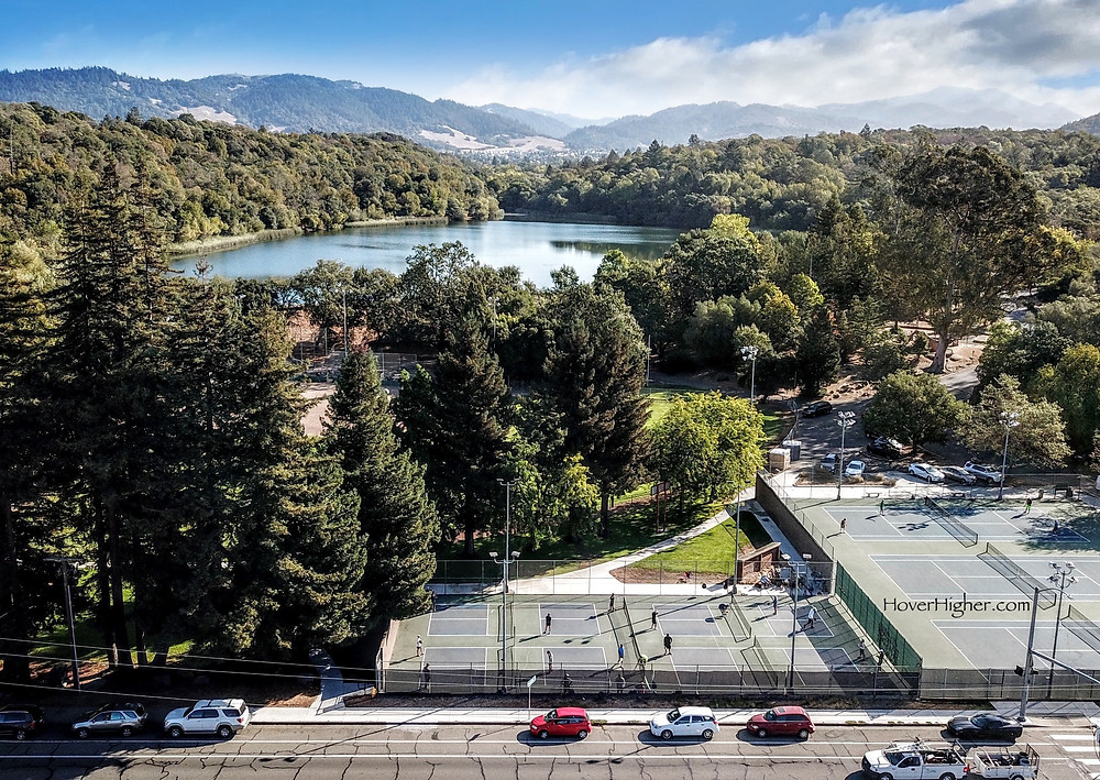 Drone Shot of Howarth Park Pickleball Courts in Santa Rosa, CA Lake Ralphine
