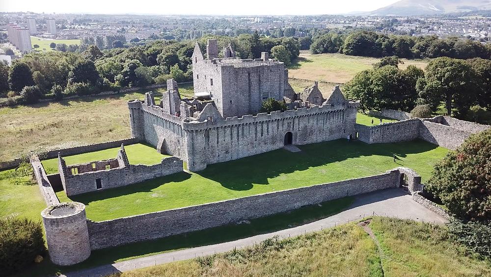 Craigmillar Castle, Edinburgh Scotland ruins drone photography aerial view hoverhigher