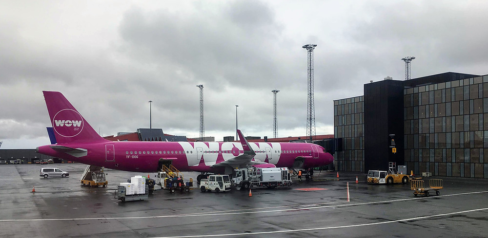 Wow air airplane to iceland, Chicago O'hare airport