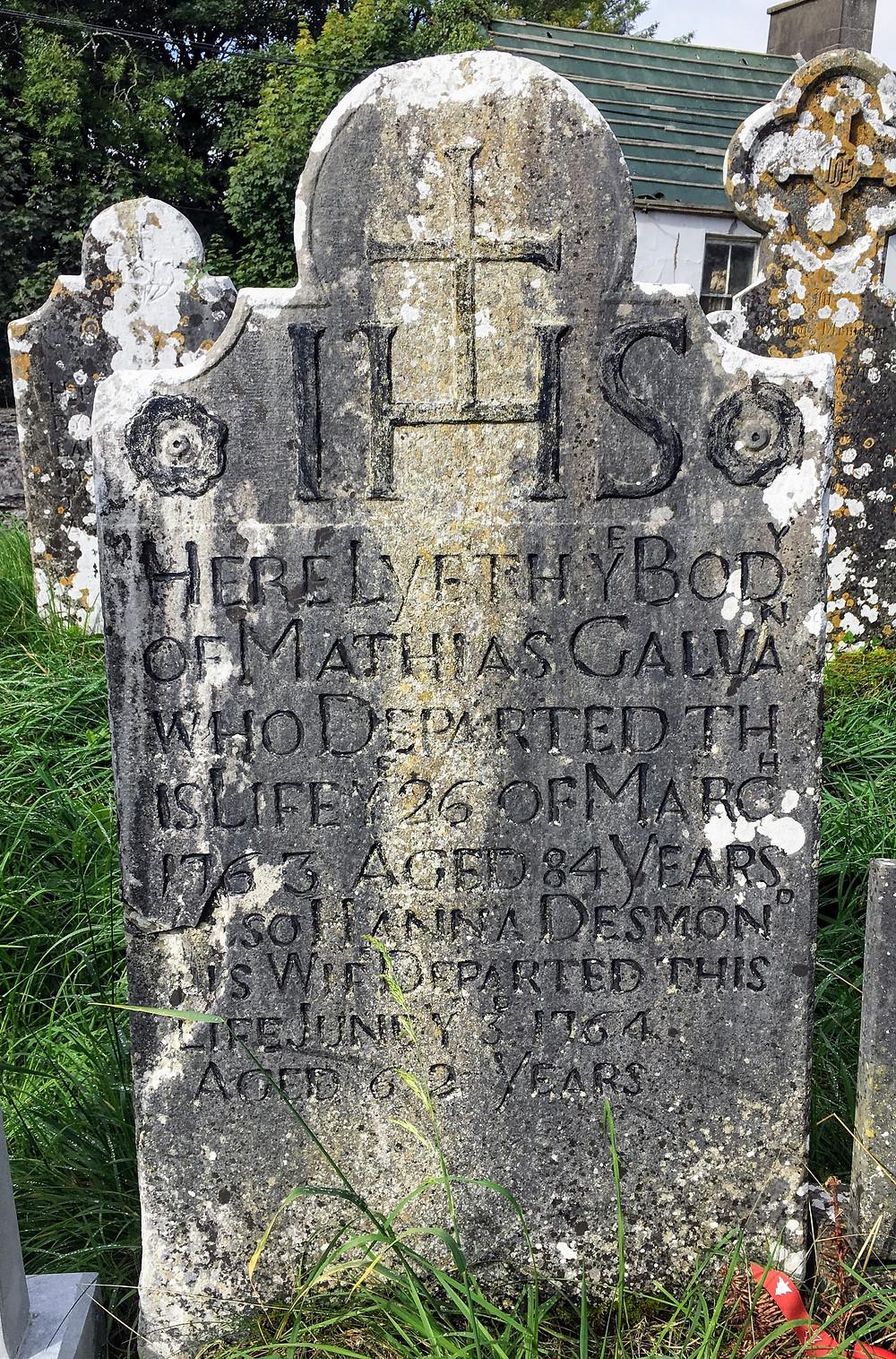 Ruins Remains of Saint Mary's RC Church Ireland graveyard gravestone