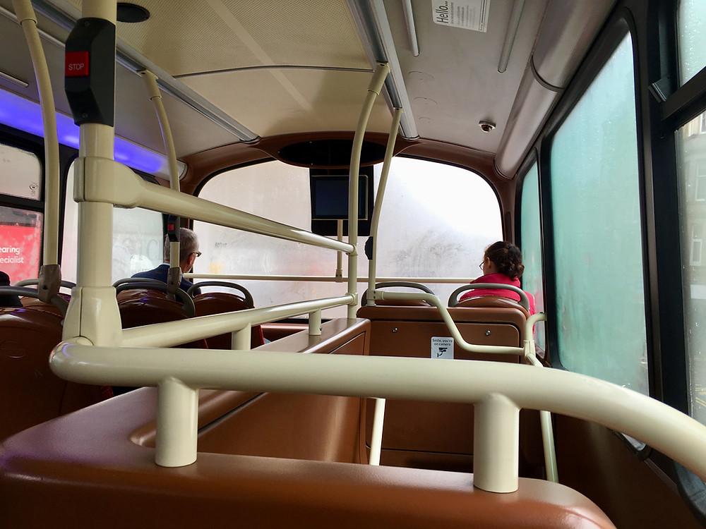 Scotland Double decker bus foggy