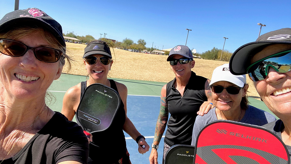 Women taking a Pickleball Lesson in Mesa AZ with Coffeys2Go Helle Sparre Court Selkirk Gearbox PaddleTek