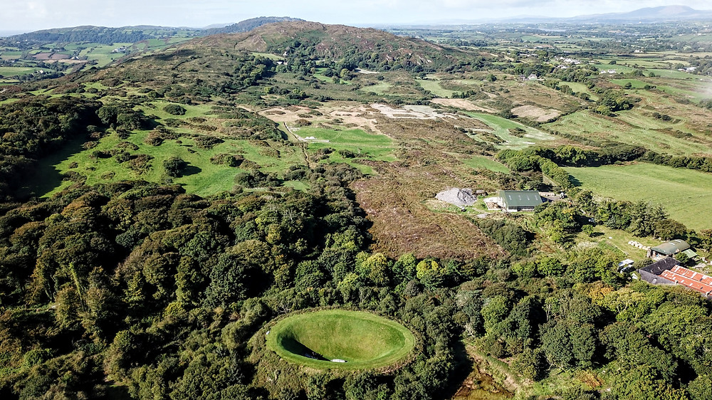 James Turrell Sky Garden in Russagh, County Cork, Ireland, art installation drone photography aerial view hoverhigher