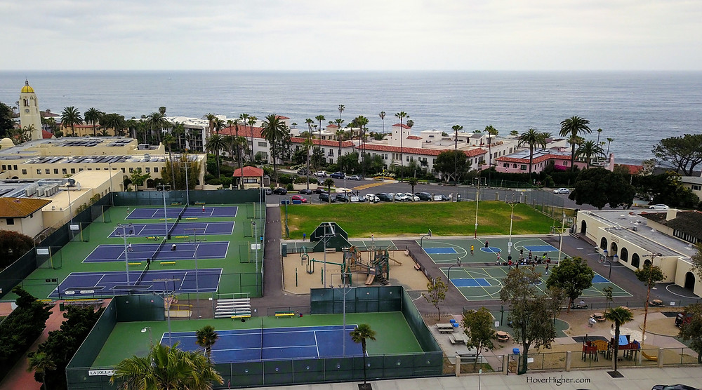 La Jolla, CA pickleball courts full of basketball players while tennis courts sit empty