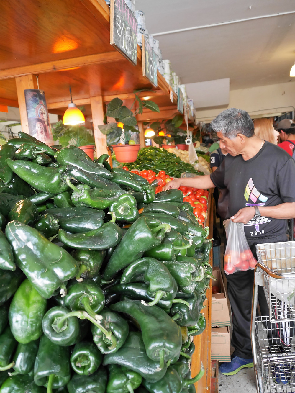 Saltillo, Coahuila, Mexico street fruit vendor peppers