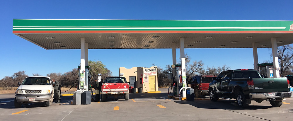 Gas fuel station in Casas Grandes Mexico