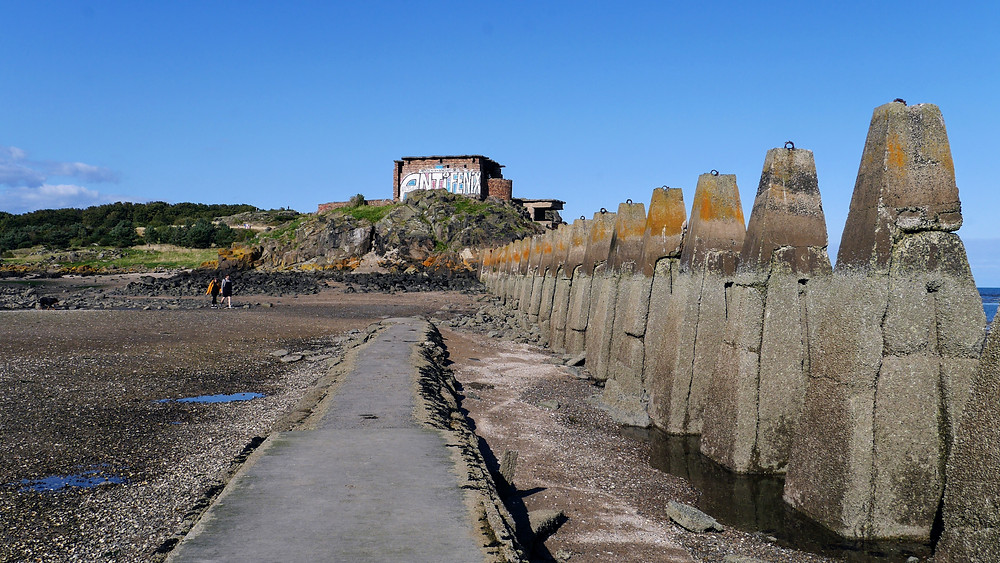 Cramond Island, Scotland low tide tidal, Drum Sands WWII